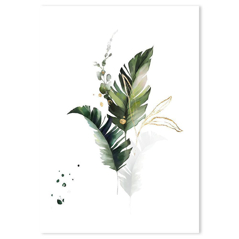Wall-Art-Poster-Canvas-Framed-Sun-kissed plants, leaves with gold touch-Gioia Wall Art