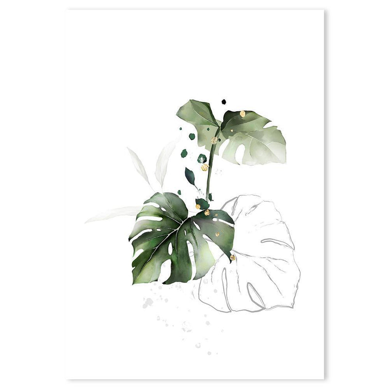 Wall-Art-Poster-Canvas-Framed-Sun-kissed plants, monstera leaves with a touch of gold spots-Gioia Wall Art