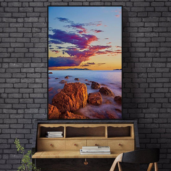 Wall-Art-Poster-Canvas-Framed-Sunrise At The Beach-Gioia Wall Art