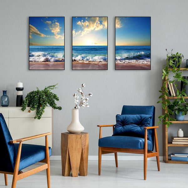 Wall-Art-Poster-Canvas-Framed-Sunrise At The Beach, Set Of 3-Gioia Wall Art