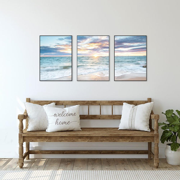Wall-Art-Poster-Canvas-Framed-Sunrise by the Ocean, Ocean And Beach Landscape, Set Of 3, Style B-Gioia Wall Art