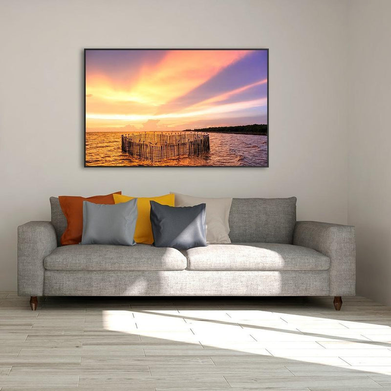 Wall-Art-Poster-Canvas-Framed-Sunset at the sea, with a group of sea birds and colourful sky-Gioia Wall Art