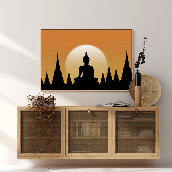 Wall-Art-Poster-Canvas-Framed-Sunset Buddha-Gioia Wall Art