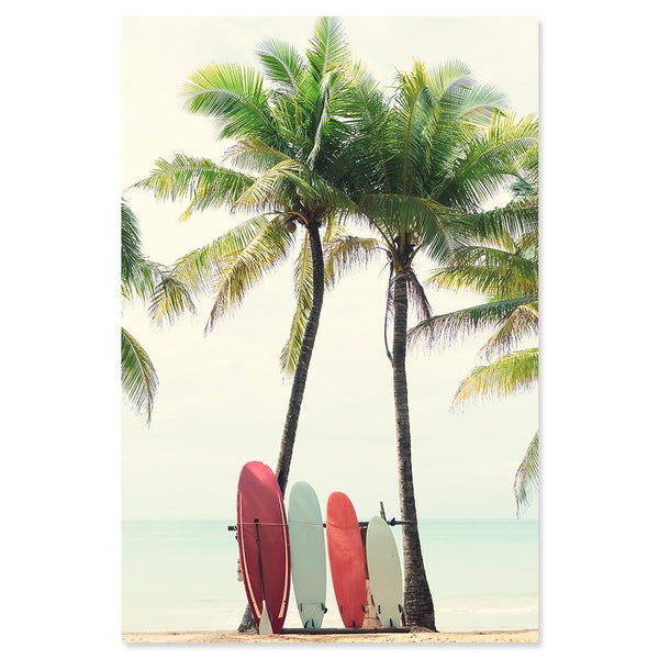 Wall-Art-Poster-Canvas-Framed-Surf Days, Surfboard and Palm trees, Beach And Ocean Art Print-Gioia Wall Art