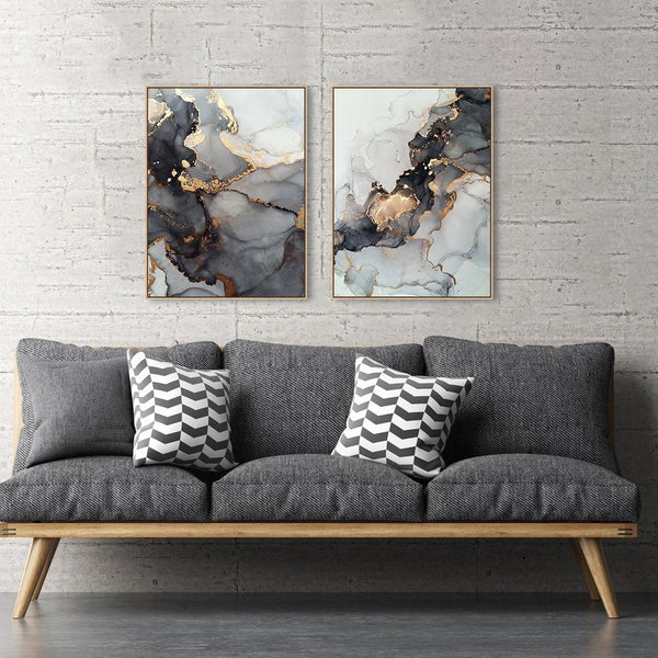 Wall-Art-Poster-Canvas-Framed-Swirl, Set Of 2-Gioia Wall Art