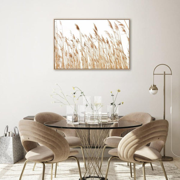 Wall-Art-Poster-Canvas-Framed-Tan Coastal Reeds-Gioia Wall Art