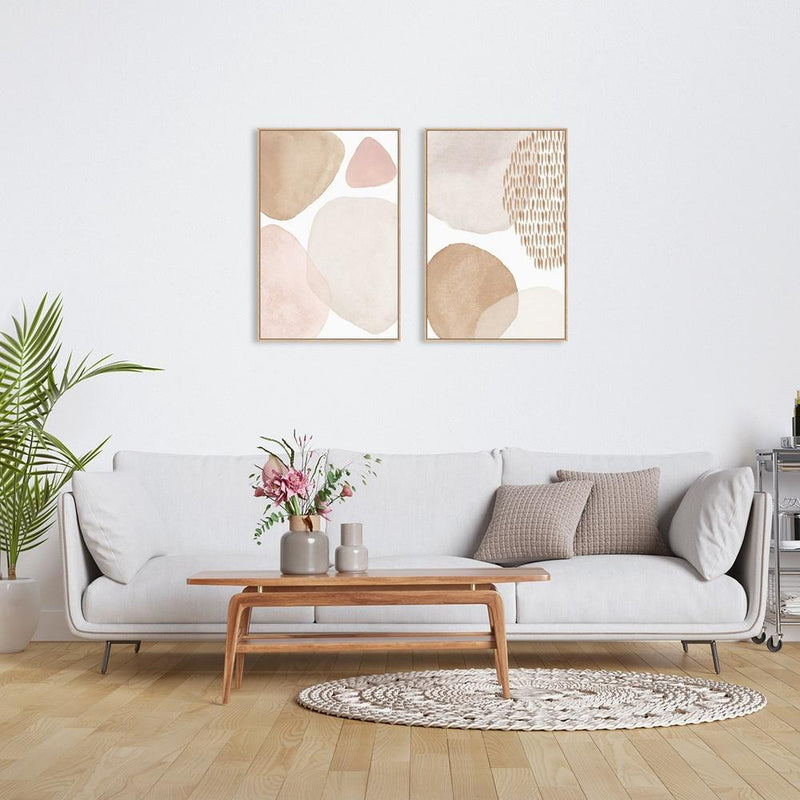 Wall-Art-Poster-Canvas-Framed-Tender and soft, abstract art, watercolour style, Set Of 2-Gioia Wall Art