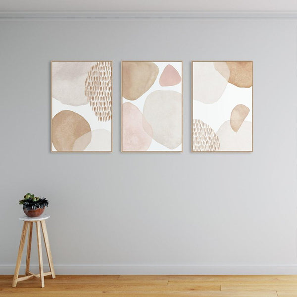 Wall-Art-Poster-Canvas-Framed-Tender and soft, abstract art, watercolour style, Set OF 3-Gioia Wall Art
