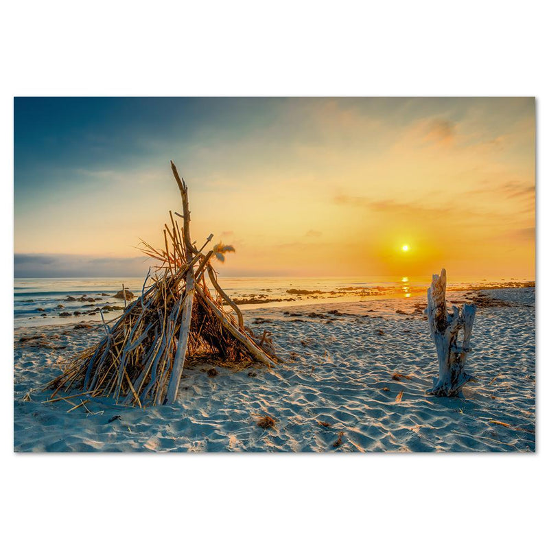 Wall-Art-Poster-Canvas-Framed-Tent at beach in sunset-Gioia Wall Art