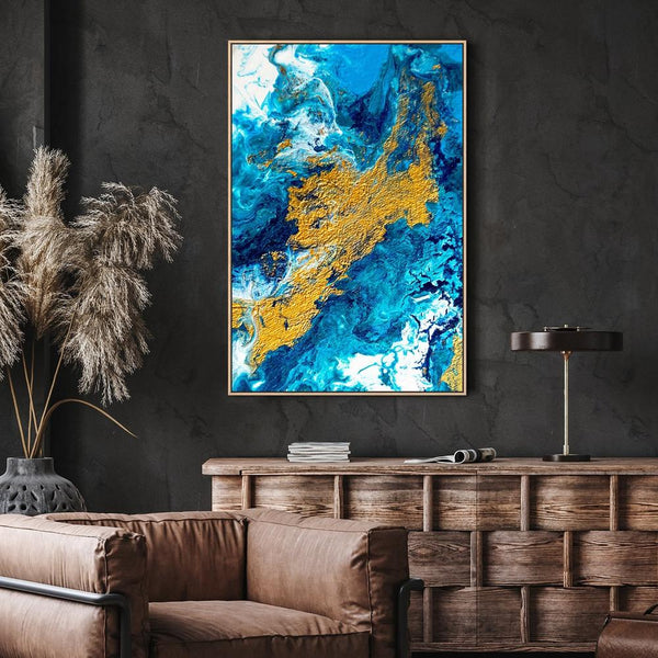Wall-Art-Poster-Canvas-Framed-Textured Blue and Gold Abstract Art, Style C-Gioia Wall Art