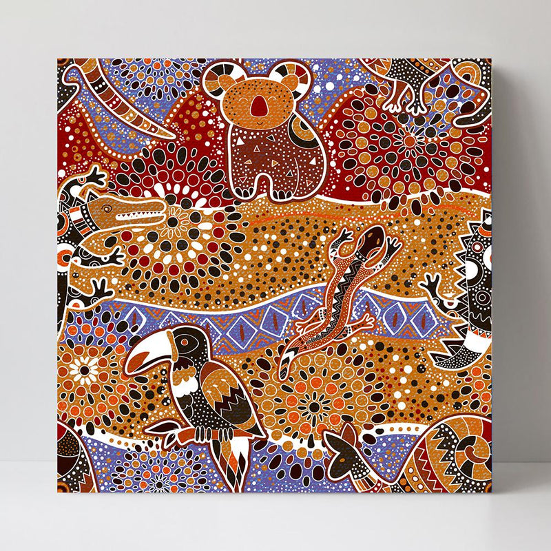 Wall-Art-Poster-Canvas-Framed-The Australian Outback, Aboriginal Art-Gioia Wall Art