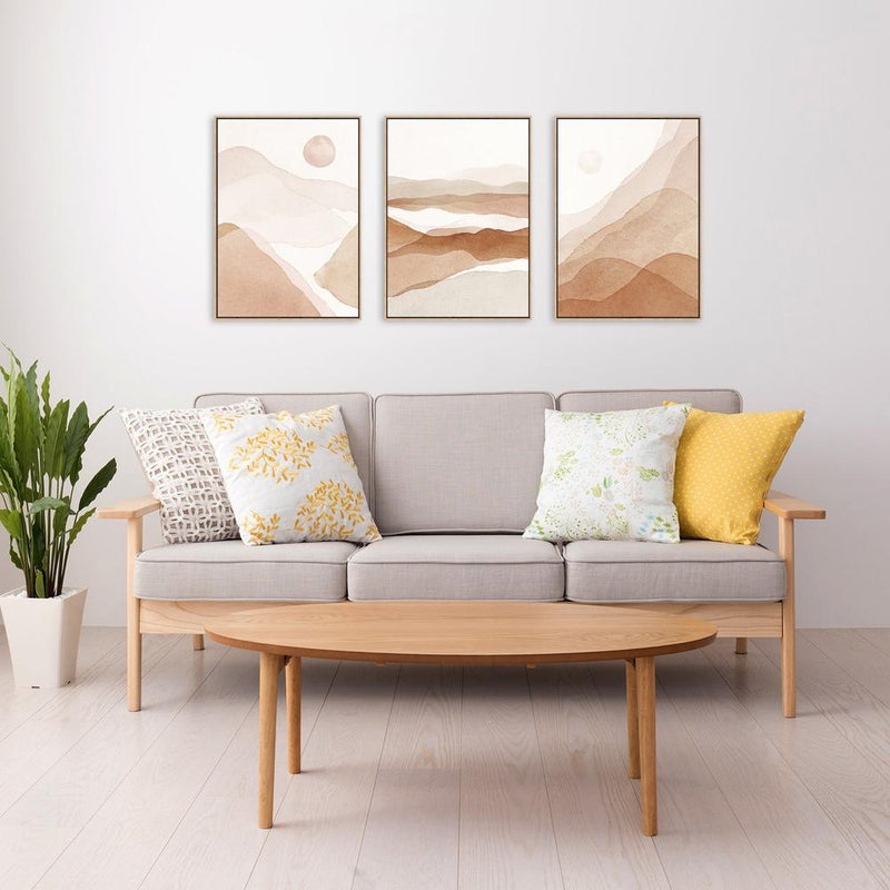Wall-Art-Poster-Canvas-Framed-The Desert, Set Of 3-Gioia Wall Art