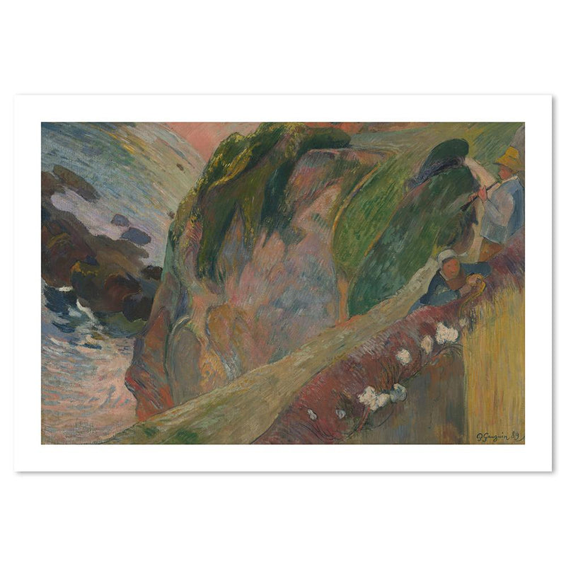 Wall-Art-Poster-Canvas-Framed-The Flageolet Player on the Cliff, by Paul Gauguin-Gioia Wall Art