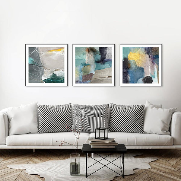 Wall-Art-Poster-Canvas-Framed-The game of light, Set Of 3, Green and Blue tone-Gioia Wall Art