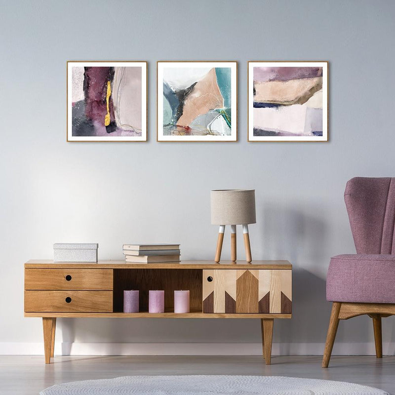 Wall-Art-Poster-Canvas-Framed-The game of light, Set Of 3, Purple tone-Gioia Wall Art