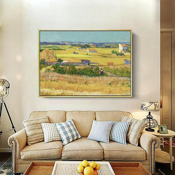 Wall-Art-Poster-Canvas-Framed-The Harvest, Van Gogh-Gioia Wall Art