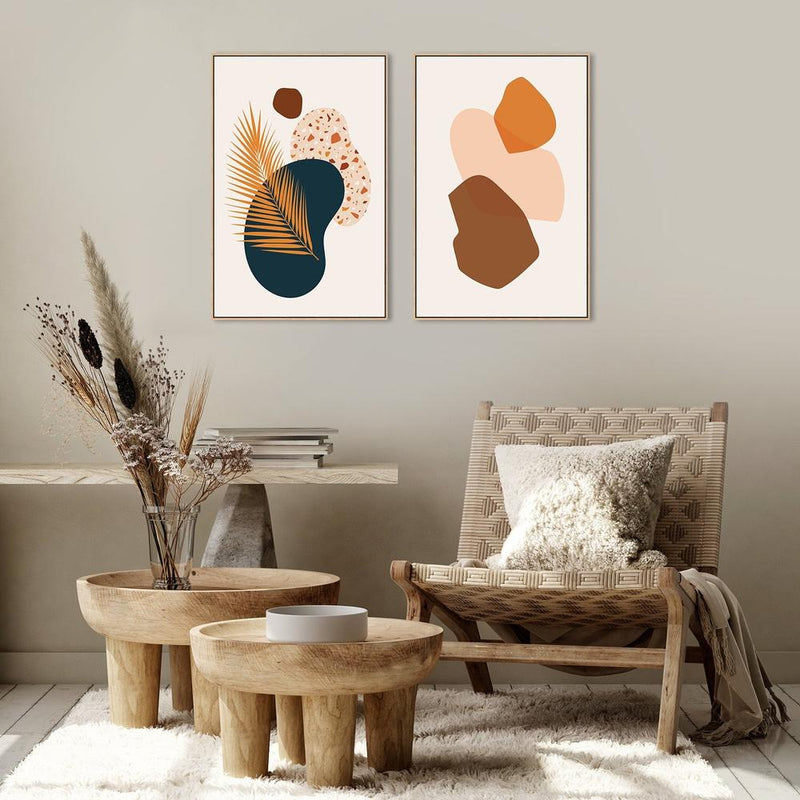 Wall-Art-Poster-Canvas-Framed-The Hot Summer Days, Set of 2, Style C-Gioia Wall Art