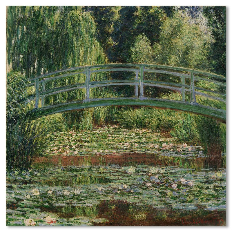 Wall-Art-Poster-Canvas-Framed-The Japanese Footbridge And The Water Lily Pool, By Monet-Gioia Wall Art