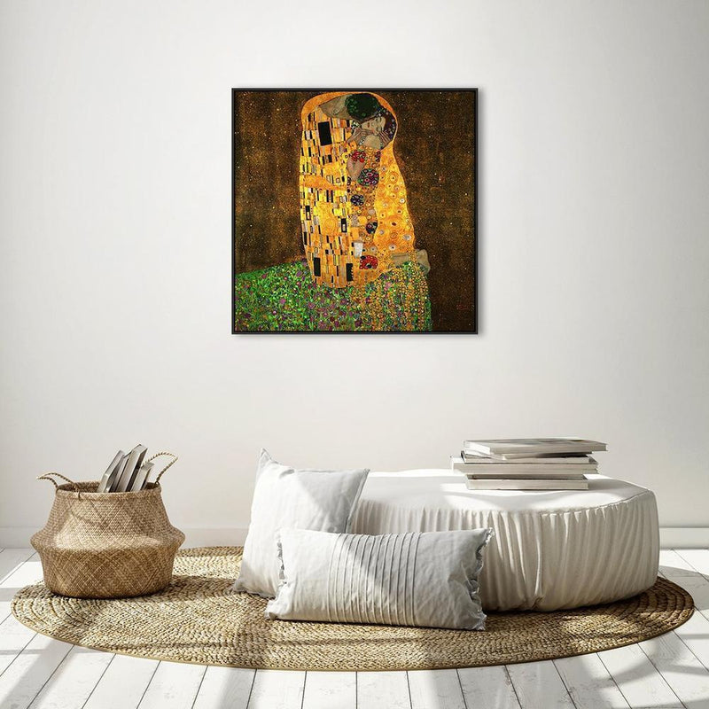 Wall-Art-Poster-Canvas-Framed-The Kiss, by Gustav Klimt-Gioia Wall Art
