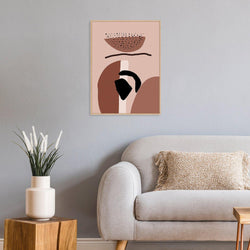 Wall-Art-Poster-Canvas-Framed-The protector, Abstract Art, Pink Black And Rusty Red-Gioia Wall Art