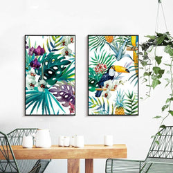 Wall-Art-Poster-Canvas-Framed-Toucan And Orchid, Set Of 2-Gioia Wall Art