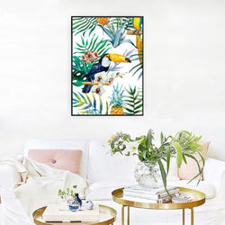 Wall-Art-Poster-Canvas-Framed-Toucan And Plants, Watercolour-Gioia Wall Art