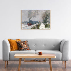 Wall-Art-Poster-Canvas-Framed-Train in the Snow, the Locomotive, by Monet-Gioia Wall Art