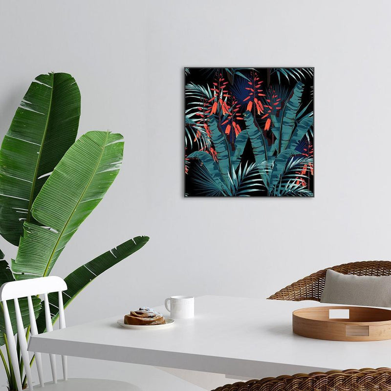 Wall-Art-Poster-Canvas-Framed-Tropic foliage with palm bananas leaves and orange flowers-Gioia Wall Art
