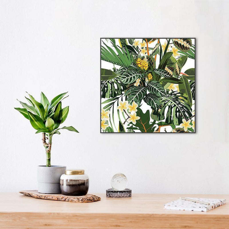 Wall-Art-Poster-Canvas-Framed-Tropic plants, Frangipani, bright green palm and monstera leaves-Gioia Wall Art