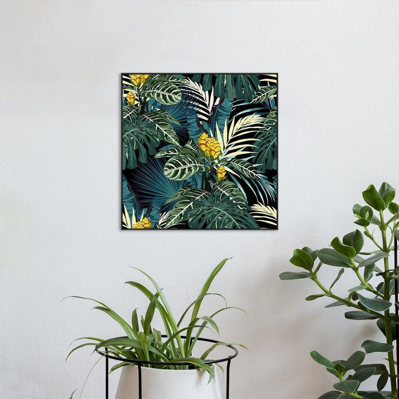Wall-Art-Poster-Canvas-Framed-Tropical jungle, green palm leaves and blue monstera leaves with yellow flowers-Gioia Wall Art