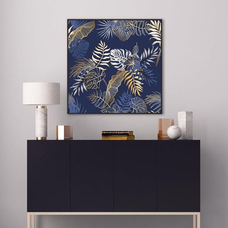 Wall-Art-Poster-Canvas-Framed-Tropical leaves, Palm, Banana and Monstera leaves, blue and tan-Gioia Wall Art