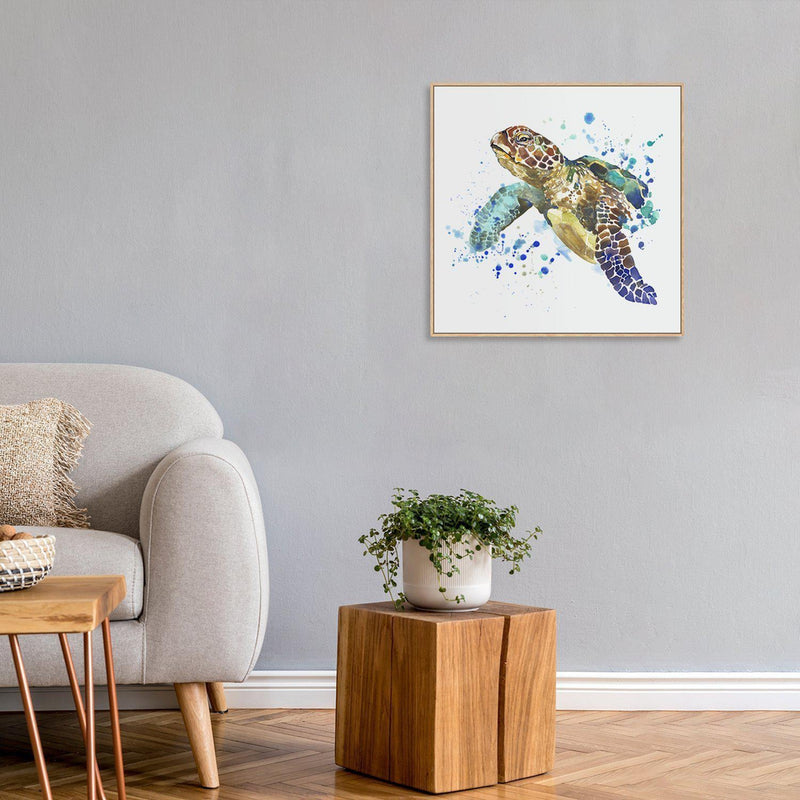 Wall-Art-Poster-Canvas-Framed-Turtle, watercolour painting-Gioia Wall Art