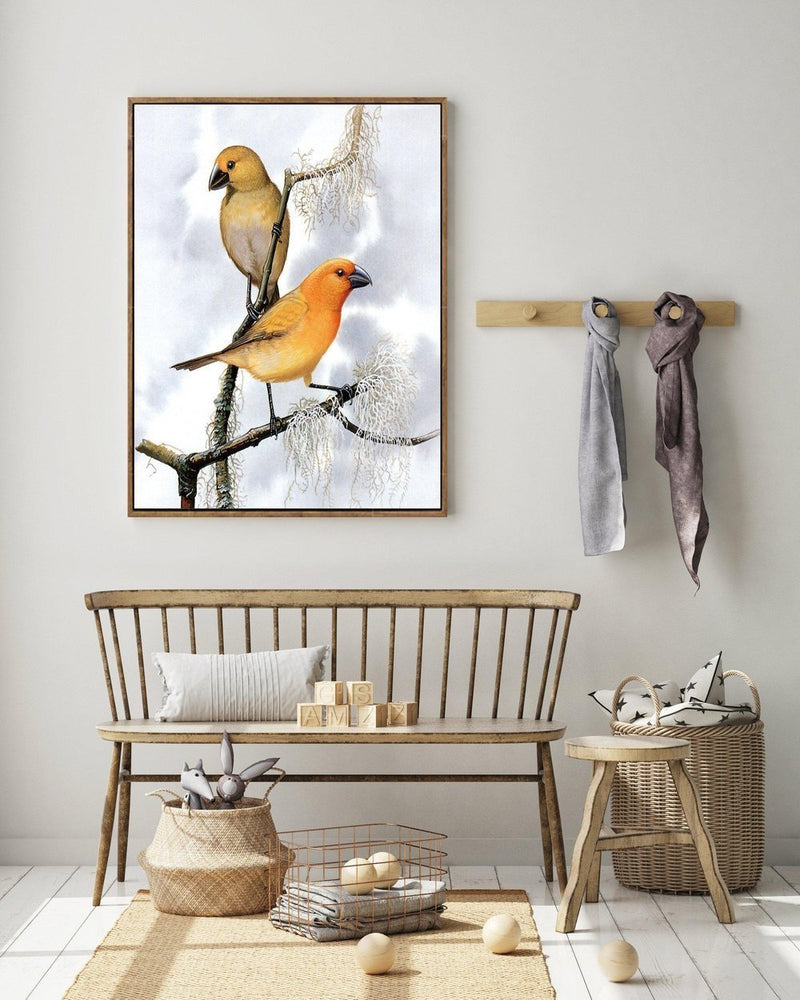 Wall-Art-Poster-Canvas-Framed-Two Birds, Tan And Orange, Retro Style, Vintage Style Painting-Gioia Wall Art