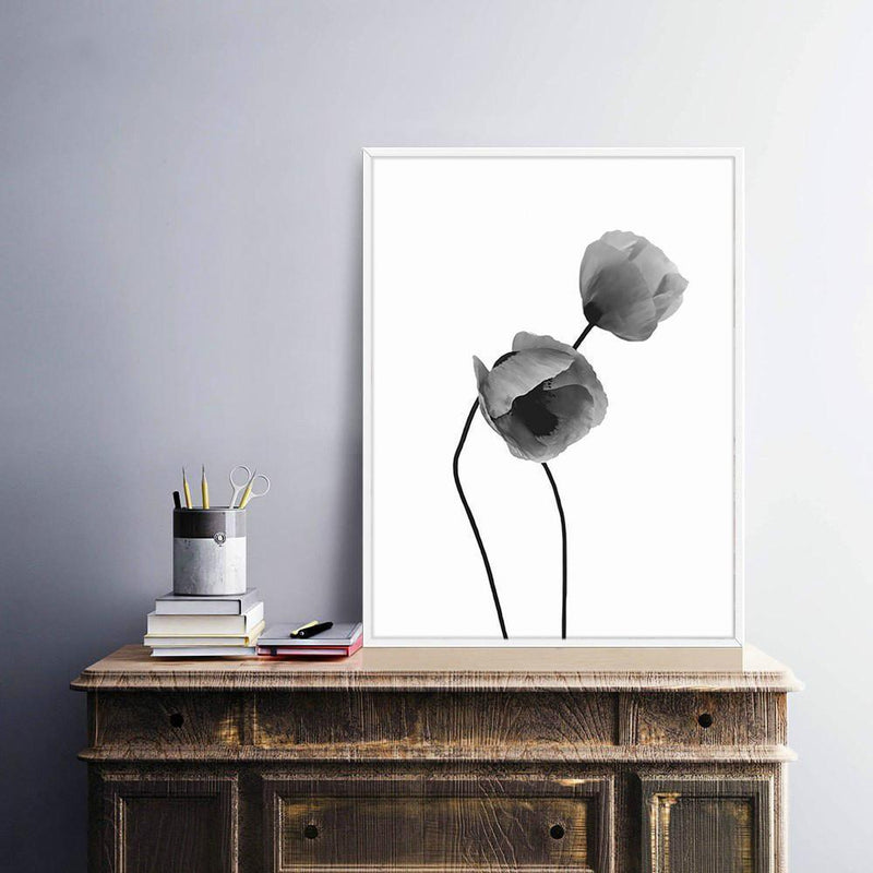 Wall-Art-Poster-Canvas-Framed-Two Poppy Flowers, Watercolour-Gioia Wall Art