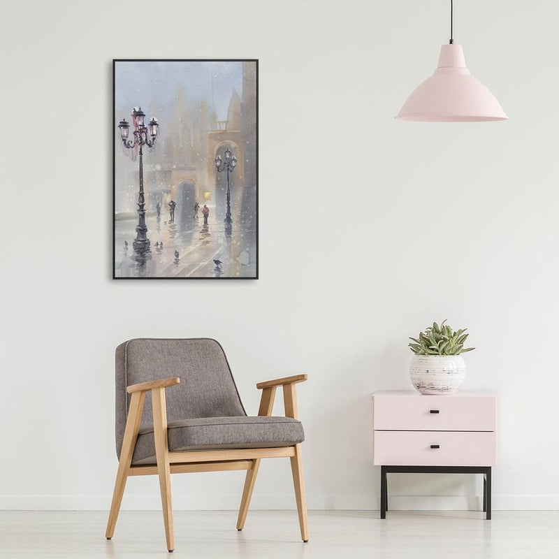 Wall-Art-Poster-Canvas-Framed-Venice in snow, watercolour landscape-Gioia Wall Art