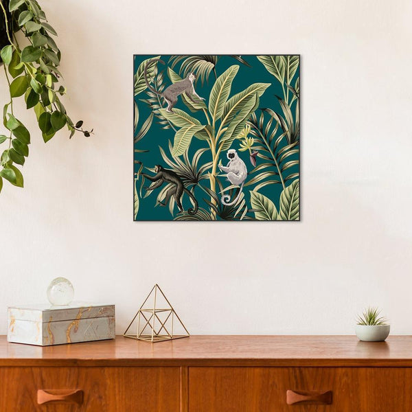 Wall-Art-Poster-Canvas-Framed-Vintage banana trees, palm leaves, lemur and monkey-Gioia Wall Art