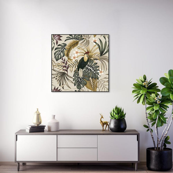 Wall-Art-Poster-Canvas-Framed-Vintage tropic plants, Frangipani, Bird, Palms and Monstera leaves-Gioia Wall Art