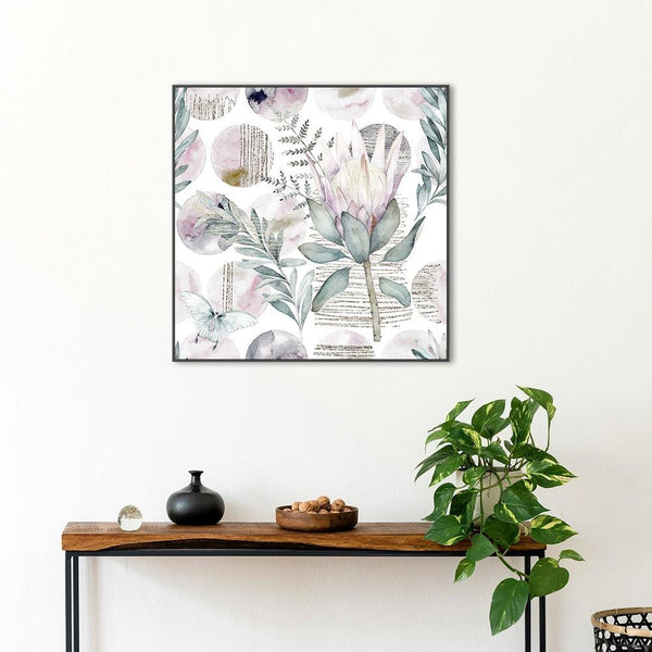 Wall-Art-Poster-Canvas-Framed-Watercolour Floral Print, Protea And Eucalyptus Leaves-Gioia Wall Art