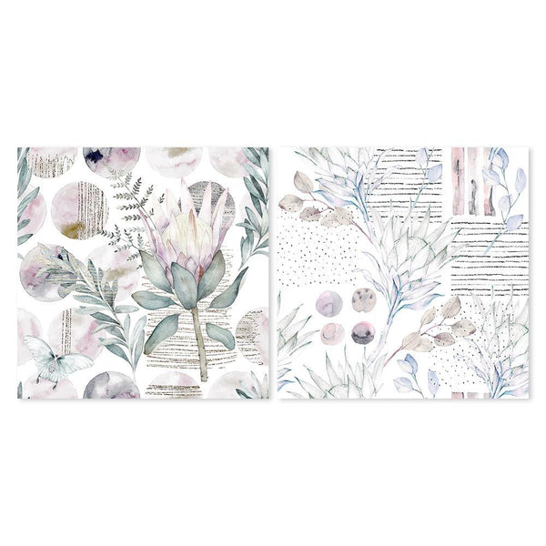 Wall-Art-Poster-Canvas-Framed-Watercolour Floral Print, Protea And Eucalyptus Leaves, Set Of 2-Gioia Wall Art