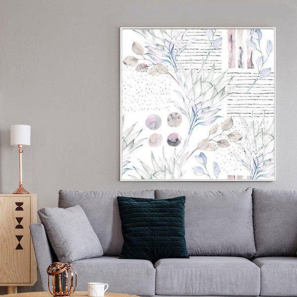 Wall-Art-Poster-Canvas-Framed-Watercolour Floral Print, Protea And Eucalyptus Leaves, Style B-Gioia Wall Art