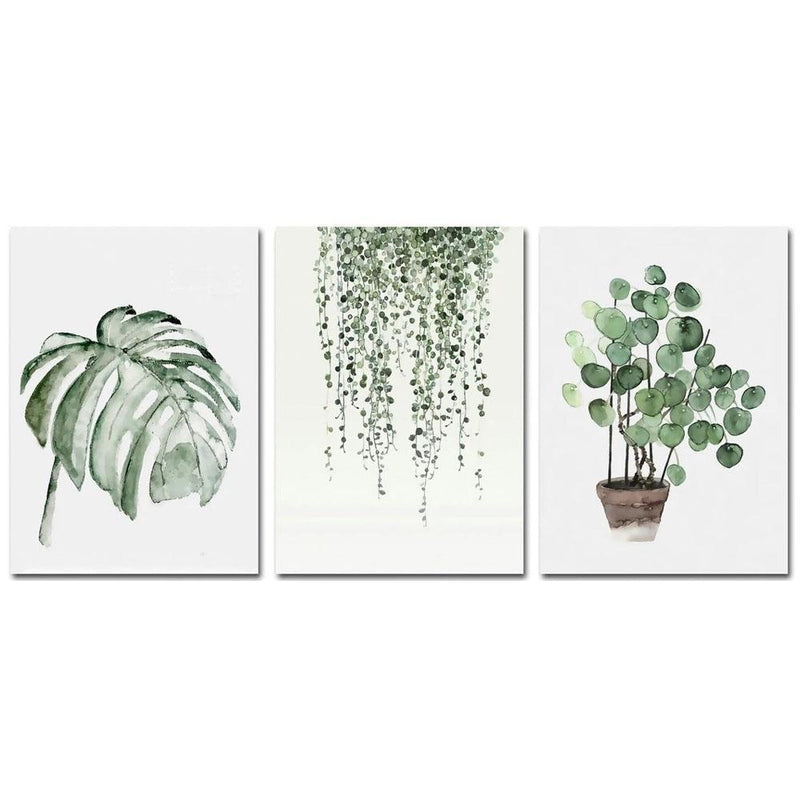 Wall-Art-Poster-Canvas-Framed-Watercolour Plants, Set Of 3-Gioia Wall Art