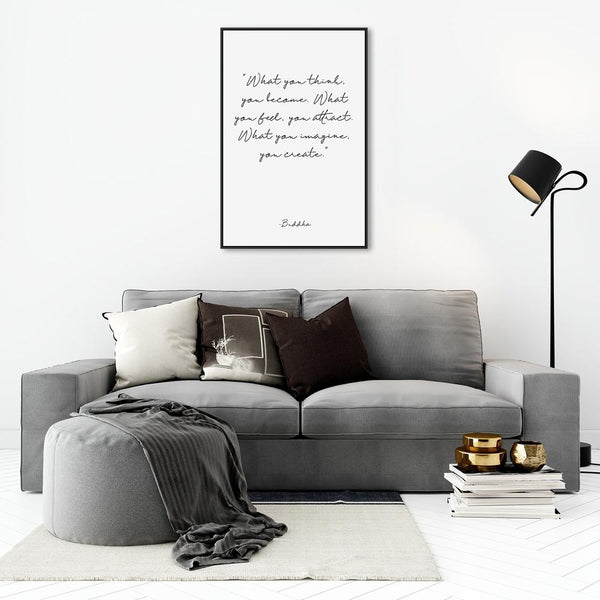 Wall-Art-Poster-Canvas-Framed-What You Think You Become, Buddha Quote, Style A-Gioia Wall Art