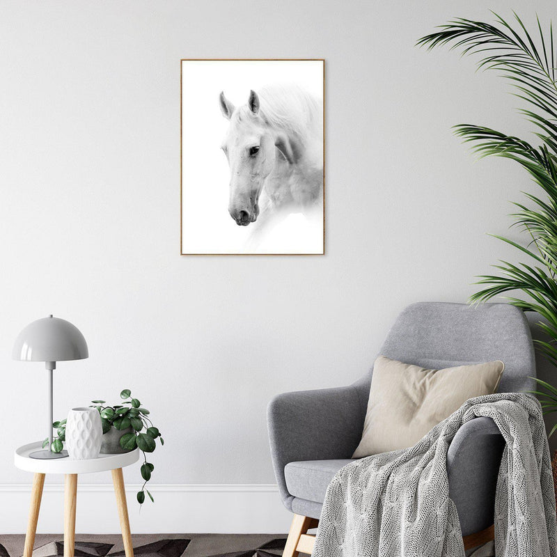 Wall-Art-Poster-Canvas-Framed-White Horse Whispering-Gioia Wall Art