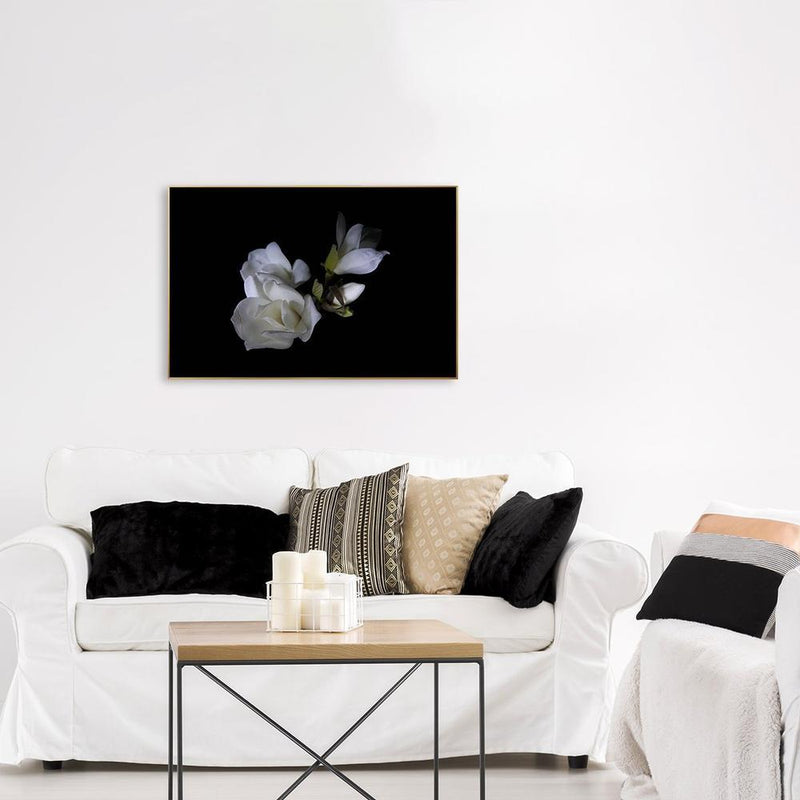 Wall-Art-Poster-Canvas-Framed-White magnolia flower, Style A-Gioia Wall Art