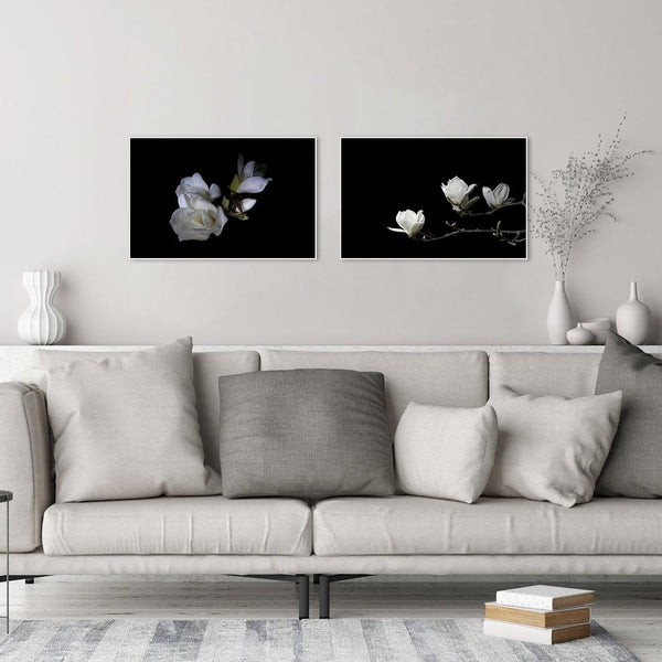 Wall-Art-Poster-Canvas-Framed-White Magnolia Flowers, Set Of 2-Gioia Wall Art