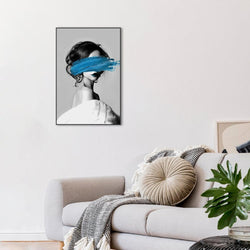 Wall-Art-Poster-Canvas-Framed-Woman And Blue Brush Painting-Gioia Wall Art