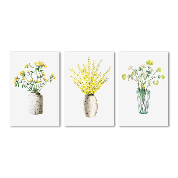 Wall-Art-Poster-Canvas-Framed-Yellow flowers in vase, Set Of 3-Gioia Wall Art