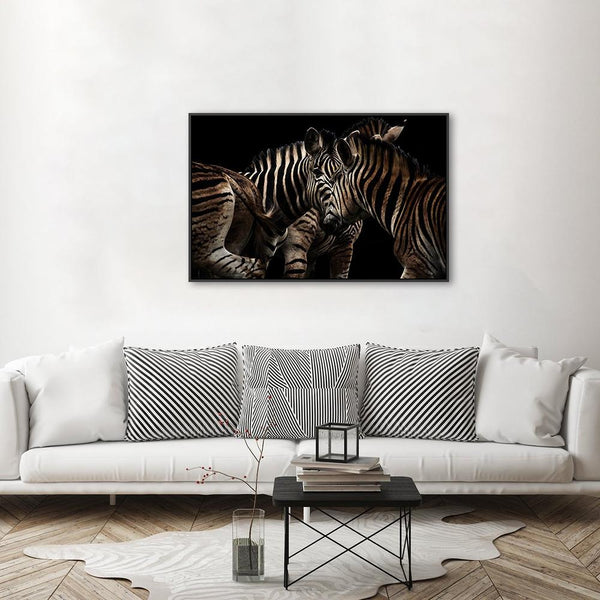 Wall-Art-Poster-Canvas-Framed-Zebra Gathering-Gioia Wall Art