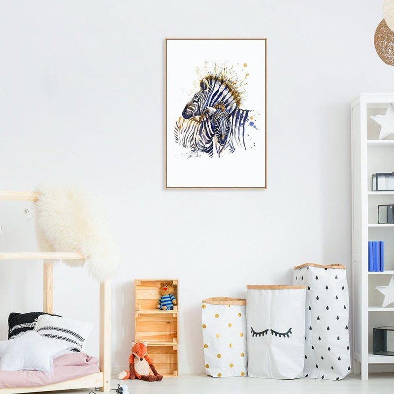 Wall-Art-Poster-Canvas-Framed-Zebras, Watercolour painting style-Gioia Wall Art