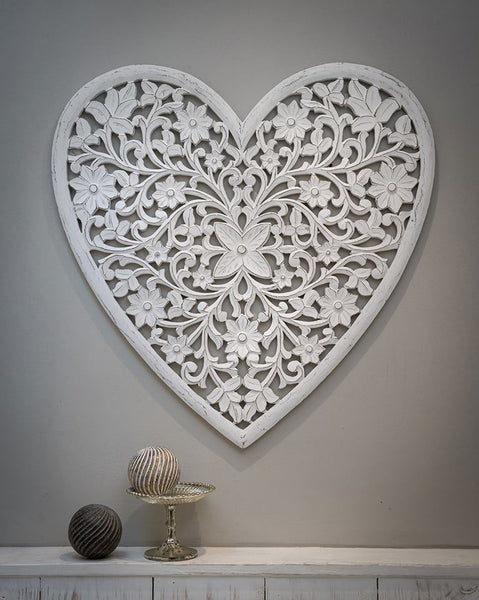 Large Heart Wall Panel White (Due June)